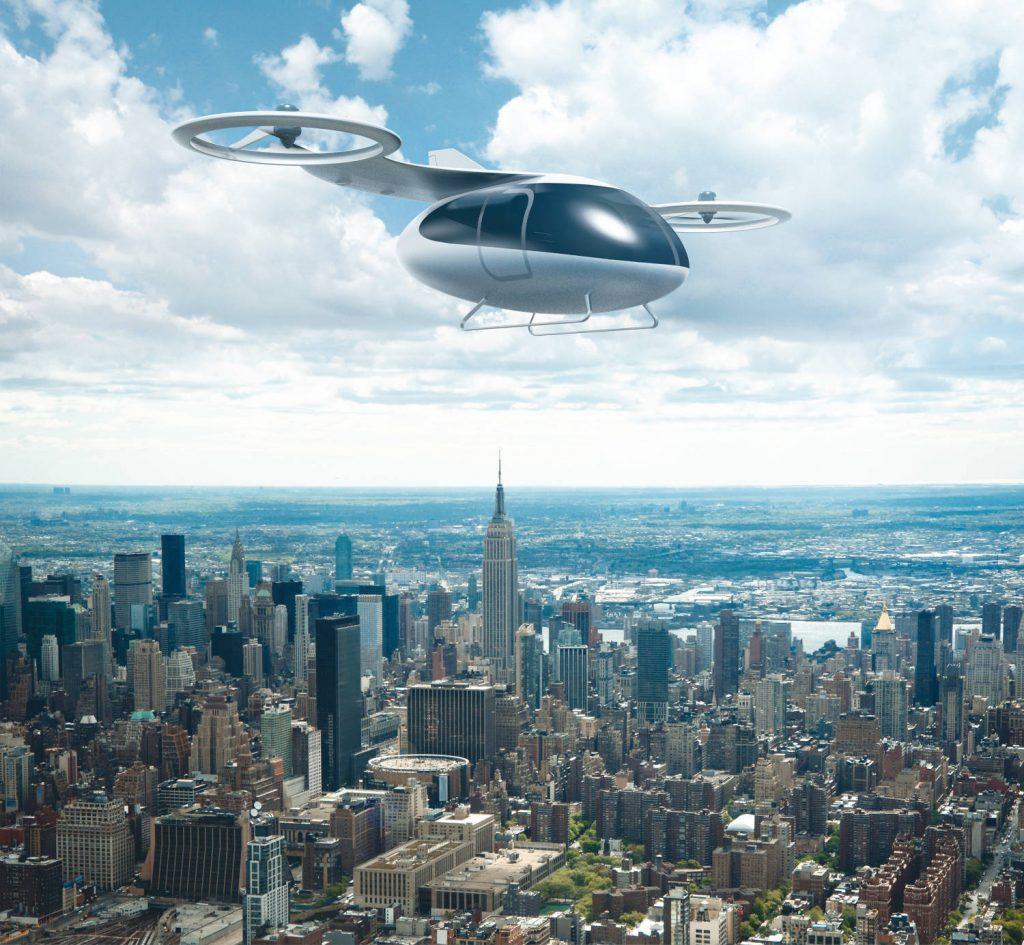 Ein Lufttaxi über Manhattan